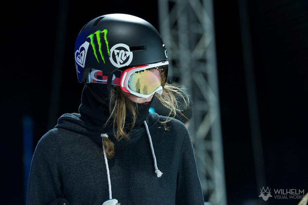 Brita Sigourney during Women's Ski Superpipe Practice at the 2013 X Games Aspen at Buttermilk Mountain in Aspen, CO.  Brett Wilhelm/ESPN