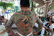 A heavily tattooed man, possibly a member of Japan's organised crime groups the Yakuza , show off his full body  tattoo and shoulder bruising (caused by carrying a mikoshi( during the Sanja matsuri, Asakusa, Tokyo, Japan. Sunday May 21st 2017 The Sanja matsuri (Three shrine festival) is one of the three biggest Shinto festivals  in Japan. It takes place for 3 days around the third weekend of May and features over 100 large and small mikoshi, or portable shrines, which are paraded around the streets of the historic Asakusa. to bring blessing and luck on the inhabitants. The events attracted between 1.5 to 2 million visitors each year.