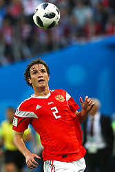 June 19, 2018 - Saint Petersburg, Russia - Mario Fernandes of the Russia national football team vie for the ball during the 2018 FIFA World Cup match, first stage - Group A between Russia and Egypt at Saint Petersburg Stadium on June 19, 2018 in St. Petersburg, Russia. (Credit Image: © Igor Russak/NurPhoto via ZUMA Press)