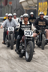 Thelma Domalewicz on her Harley-Davidson flathead racer heads onto the beach for day two of racing at  TROG (The Race Of Gentlemen). Wildwood, NJ. USA. Sunday June 10, 2018. Photography ©2018 Michael Lichter.