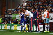 Brentford Manager Marinus Dijkhuizen gives instructions to Alan Judge of Brentford. Skybet football league championship match, Burnley  v Brentford at Turf Moor in Burnley, Lancs on Saturday 22nd August 2015.<br /> pic by Chris Stading, Andrew Orchard sports photography.