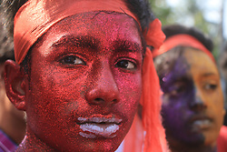 April 14, 2017 - Dhaka, Bangladesh - Boys coloured their face joined in a rally to celebrate Bengali New Year 1424 in Dhaka, Bangladesh on April 14, 2017. People across the country are welcoming the new Bangla year or Pohela Boishakh 1424, with much enthusiasm and colourful festivals. (Credit Image: © Rehman Asad/NurPhoto via ZUMA Press)
