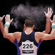 Eleftherios Petrounias of Greece reacts after performing on the Rings at the 46th FIG Artistic Gymnastics World Championships in Glasgow, Britain, 31 October 2015.