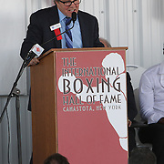 Inductee and trainer Freddie Roach gives his induction speech during the 23rd Annual International Boxing Hall of Fame Induction ceremony at the International Boxing Hall of Fame on Sunday, June 10, 2012 in Canastota, NY. (AP Photo/Alex Menendez)