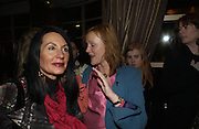Sue Timney and Miranda Richardson. The premiere for the new Cirque Du Soleil production, Alegria, at the Royal Albert Hall and party afterwards in the Kensington Roofgarden. London.  5 January 2006. ONE TIME USE ONLY - DO NOT ARCHIVE  © Copyright Photograph by Dafydd Jones 66 Stockwell Park Rd. London SW9 0DA Tel 020 7733 0108 www.dafjones.com