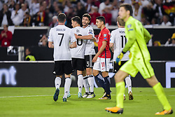 September 4, 2017 - Stuttgart, GERMANY - 170904 Mesut Özil of Germany celebrates with teammate Jonas Hector after scoring the 1-0 goal during the FIFA World Cup Qualifier match between Germany and Norway on September 4, 2017 in Stuttgart..Photo: Jon Olav Nesvold / BILDBYRÃ…N / kod JE / 160008 (Credit Image: © Jon Olav Nesvold/Bildbyran via ZUMA Wire)