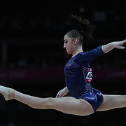 Aliya Mustafina, Russia, in action on the Balance Beam during the Women's Individual All-Around competition in which she won the Bronze Medal, at North Greenwich Arena, during the London 2012 Olympic games. London, UK. 2nd August 2012. Photo Tim Clayton