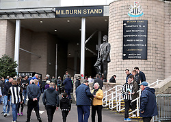 A general view of fans outside the stadium before the Premier League match at St James' Park, Newcastle.