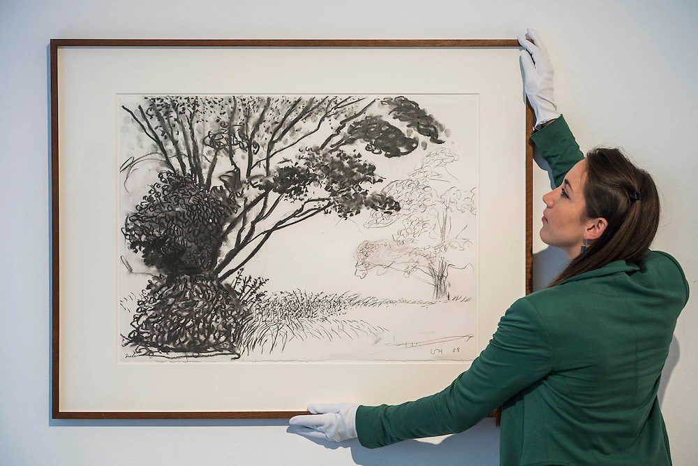 Kilham to Rudston, 2008 by David Hockney - It's Our World Auction in support of The Big Draw and Jupiter Artland Foundation, Chrisites, London, UK - Over 40 leading artists including David Hockney, Sir Antony Gormley, David Nash, Sir Peter Blake, Yinka Shonibare, Sir Quentin Blake, Emily Young and Maggi Hambling have committed artworks to the be sold at on 10 March 2016. The Auction is the culmination of a mass participation environmental arts project, promoting sustainability for future generations through art. Money raised will support The Big Draw, an arts education charity that works across the UK to promote visual