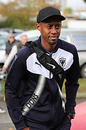 AFC Wimbledon midfielder Jimmy Abdou (8) arriving during the EFL Sky Bet League 1 match between AFC Wimbledon and Plymouth Argyle at the Cherry Red Records Stadium, Kingston, England on 21 October 2017. Photo by Matthew Redman.