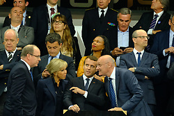 June 5, 2017 - Saint Denis, Seine Saint Denis, France - The French president EMMANUEL MACRON and the First Lady with SAS ALBERT II of Monaco talk about rugby with BERNARD LAPORT French Federation president, during the final of the French Rugby Championship Top 14 against Rugby Club Toulonnais at the Stade de France - St Denis France.ASM Clermont beat RC Toulon 22-16 (Credit Image: © Pierre Stevenin via ZUMA Wire)