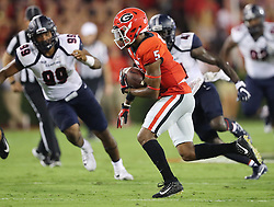 September 16, 2017 - Athens, GA, USA - Georgia wide receiver Terry Godwin (5) runs to the end zone against Samford for a touchdown reception and a 21-0 lead during the second quarter on Saturday, Sept. 16, 2017, at Sanford Stadium in Athens, Ga. (Credit Image: © Curtis Compton/TNS via ZUMA Wire)