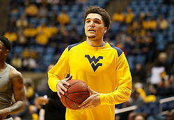 Jan 6, 2018; Morgantown, WV, USA; West Virginia Mountaineers forward Teddy Allen (13) warms up before their game against the Oklahoma Sooners at WVU Coliseum. Mandatory Credit: Ben Queen-USA TODAY Sports