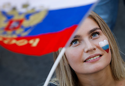 June 25, 2018 - Saint Petersburg, Russia - Russia supporter during the FIFA World Cup 2018 match between Russia and Uruguay on June 25, 2018 at Fan Fest zone in Saint Petersburg, Russia. (Credit Image: © Mike Kireev/NurPhoto via ZUMA Press)