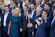 Emmanuel Macron, Brigitte Macron, Hugo Lloris, Didier Deschamps and players during the reception of the French team at Elysée after winning the 2018 FIFA World Cup Russia on July 16, 2018 in Paris, France - Photo Stephane Allaman / ProSportsImages / DPPI