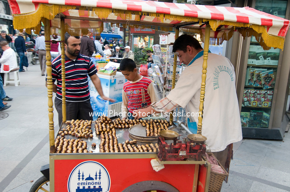 Turkey, Istanbul, Street vendor selling Chestnuts from a mobile stall