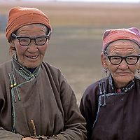 MONGOLIA, Darhad Valley. Elderly herding women with new glasses from the USA donated by BioRegions International.