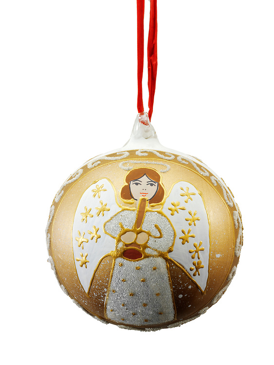 Artisan hand made traditional Christman bauble tree decoration with an angel design, cut out
