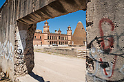 The pyramid shaped granaries and the front towers of the Hacienda de Jaral de Berrio in Jaral de Berrios, Guanajuato, Mexico. The abandoned Jaral de Berrio hacienda was once the largest in Mexico and housed over 6,000 people on the property and is credited with creating Mescal.