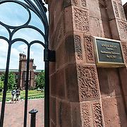 The gated entrance to the Enid A. Haupt Gardens in the back of the Smithsonian Castle in Washington DC.