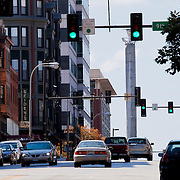Looking south up Broadway in downtown Kansas City Missouri, taken for Rhythm Engineering.
