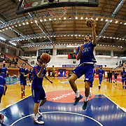 Anadolu Efes's Furkan Korkmaz (R) warms-up prior to their Turkish Basketball Super League match Istanbul BBSK between Anadolu Efes at Cebeci Arena in Istanbul Turkey on Sunday 29 November 2015. Photo by Aykut AKICI/TURKPIX