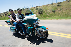 Jim Kaplan ofElizabeth, CO on his 2009 Ultra Classic riding from Steamboat Springs, Colorado, to Baggs, Wyoming during the Rocky Mountain Regional HOG Rally, USA. Friday June 9, 2017. Photography ©2017 Michael Lichter.