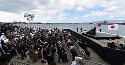 US-Präsident Barack Obama und Japans Premier Shinzo Abe beim Gedenken an die Opfer des japanischen Angriffs auf Pearl Harbor vor 75 Jahren / 271216<br /> <br /> <br /> <br /> ***Photo taken Dec. 27, 2016, shows a pier of Pearl Harbor in Hawaii at which Japanese Prime Minister Shinzo Abe and U.S. President Barack Obama gave speeches. The two leaders commemorated those who died in the Japanese surprise attack in 1941.***
