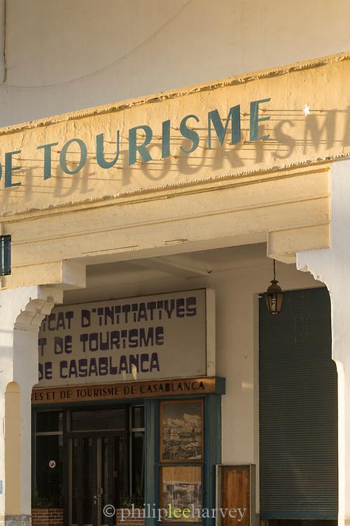 Entrance detail of travel agency in Casablanca, Morocco