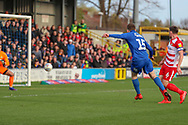 AFC Wimbledon defender Steve Seddon (15) scoring goal to make it 1-0 during the EFL Sky Bet League 1 match between AFC Wimbledon and Doncaster Rovers at the Cherry Red Records Stadium, Kingston, England on 9 March 2019.