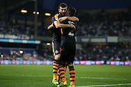 GOAL / CELE - Grant Hanley of Newcastle United celebrates with Ciaran Clark after scoring his sides sixth goal to make it 0-6 . EFL Skybet football league championship match, Queens Park Rangers v Newcastle Utd at Loftus Road Stadium in London on Tuesday 13th September 2016.<br /> pic by John Patrick Fletcher, Andrew Orchard sports photography.