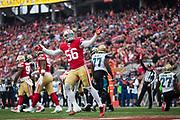 San Francisco 49ers outside linebacker Reuben Foster (56) celebrates a defensive stop against the Jacksonville Jaguars at Levi's Stadium in Santa Clara, Calif., on December 24, 2017. (Stan Olszewski/Special to S.F. Examiner)