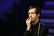 Scott Donaldson of Scotland during his 2nd round match against Matthew Stevens of Wales. ManBetx Welsh Open Snooker 2018, day three at the Motorpoint Arena in Cardiff, South Wales on Wednesday 28th February 2018.<br /> pic by Andrew Orchard, Andrew Orchard sports photography.