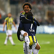 Fenerbahce's Moussa Sow with Baroni celebrate his goal during their Turkish superleague soccer match Besiktas between Fenerbahce at the BJK Inonu Stadium in Istanbul Turkey on Saturday, 03 March 2013. Photo by Aykut AKICI/TURKPIX