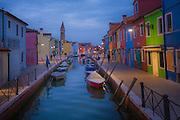 Evening on the Island of Burano near Venice Italy
