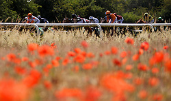 Salmon Fishing ridden by Eoin Walsh (left) leads the field during The Racing Welfare Racing Staff Week Novice Auction Stakes at Thirsk Racecourse, Thirsk.