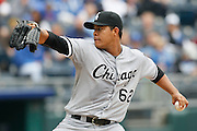 Chicago White Sox pitcher Jose Quintana throws the ball in the first inning of a baseball game against the Kansas City Royals at Kauffman Stadium in Kansas City, Mo., Sunday, May 5, 2013.  (AP Photo/Colin E. Braley).
