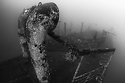 INDONESIA. Kubu, Bali. June 20th, 2013. A view from the stern of shipwreck near the shoreline in the village of Kubu. Recently sunk, this wreck is intended to act as an artificial reef.