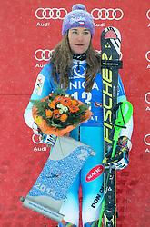 29.12.2014, Hohe Mut, Kühtai, AUT, FIS Ski Weltcup, Kühtai, Slalom, Damen, Siegerehrung, im Bild zweite Sarka Strachova (CZE) // second placed Sarka Strachova of Czech Republic celebrates on Podium during the award ceremony after Ladies Giant Slalom of the Kuehtai FIS Ski Alpine World Cup at the Hohe Mut Course in Kuehtai, Austria on 2014/12/29. EXPA Pictures © 2014, PhotoCredit: EXPA/ Erich Spiess