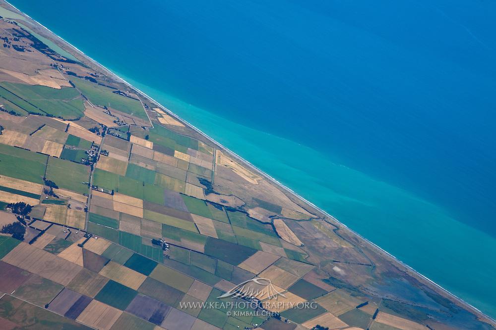 Agricultural coastline, South Island, New Zealand