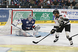 03.10.2014, SAP Arena, Mannheim, GER, DEL, Adler Mannheim vs Thomas Sabo Ice Tigers, 7. Runde, im Bild Connor James (Thomas Sabo Ice Tigers) vergibt gegen Dennis Endras (Adler Mannheim), Aktion / Action // during germans DEL Icehockey League 7th round match between Adler Mannheim and Thomas Sabo Ice Tigers at the SAP Arena in Mannheim, Germany on 2014/10/03. EXPA Pictures © 2014, PhotoCredit: EXPA/ Eibner-Pressefoto/ Neis<br /> <br /> *****ATTENTION - OUT of GER*****