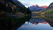 Maroon Bells reflected in Maroon Lake