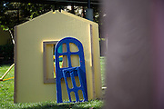 Walls of a playhouse wait to be assembled by SanDisk employees during a Habitat for Humanity playhouse build at the SanDisk headquarters in Milpitas, California, on August 27, 2013. (Stan Olszewski/SOSKIphoto)