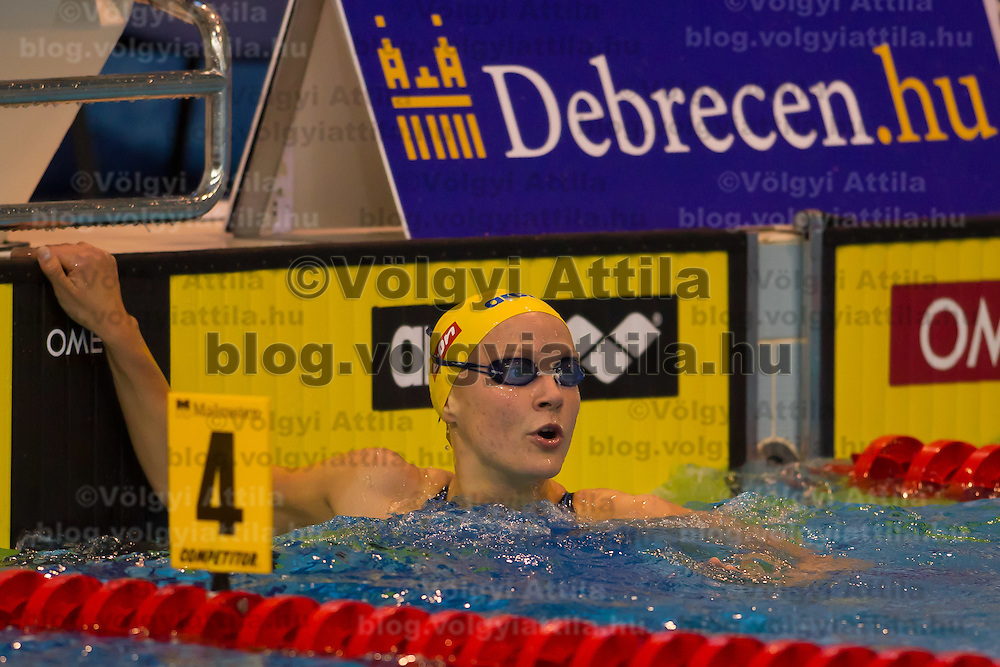 Sarah Sjoestroem of Sweden celebrates her victory in the Women's 50m Butterfly final of the 31th European Swimming Championships in Debrecen, Hungary on May 22, 2012. ATTILA VOLGYI