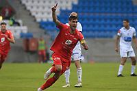 Fotball , 17. juni 2020 , Eliteserien,<br />Haugesund - Brann Bergen<br />Daniel Pedersen Feirer skåring andre mål for Brann Bergen mot Haugesund.<br />Foto: Andrew Halseid Budd , Digitalsport