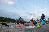 Sunrise Yoga on Piper Mountain.  ©2016 Karen Bobotas Photographer