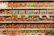 Packaged products line the shelves in the Harris Teeter supermarket in Raleigh, North Carolina. (Supporting image from the project Hungry Planet: What the World Eats.)