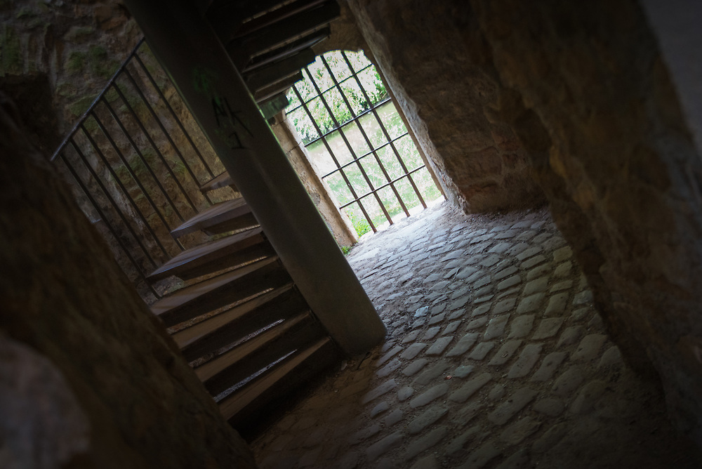 Stairwell in old city wall, in Grund, Luxembourg.