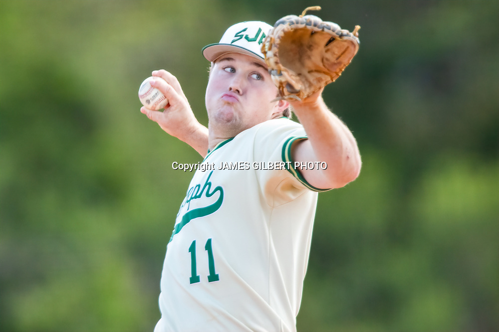 James Drysdale<br /> <br /> SJA hosted Sandalwood in a Baseball game at St Joesph's Academy in St Augustine, Florida on Tuesday April 2, 2019. Mandatory Credit-James Gilbert Photo.<br /> <br /> James Gilbert<br /> 9044955729<br /> JamesGilbertPhoto@gmail.com