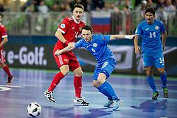 Daniil Davydov of Russia and Aleksandr Dovgan of Kazakhstan during futsal match between National teams of Kazakhstan and Russia at Day 5 of UEFA Futsal EURO 2018, on February 3, 2018 in Arena Stozice, Ljubljana, Slovenia. Photo by Urban Urbanc / Sportida